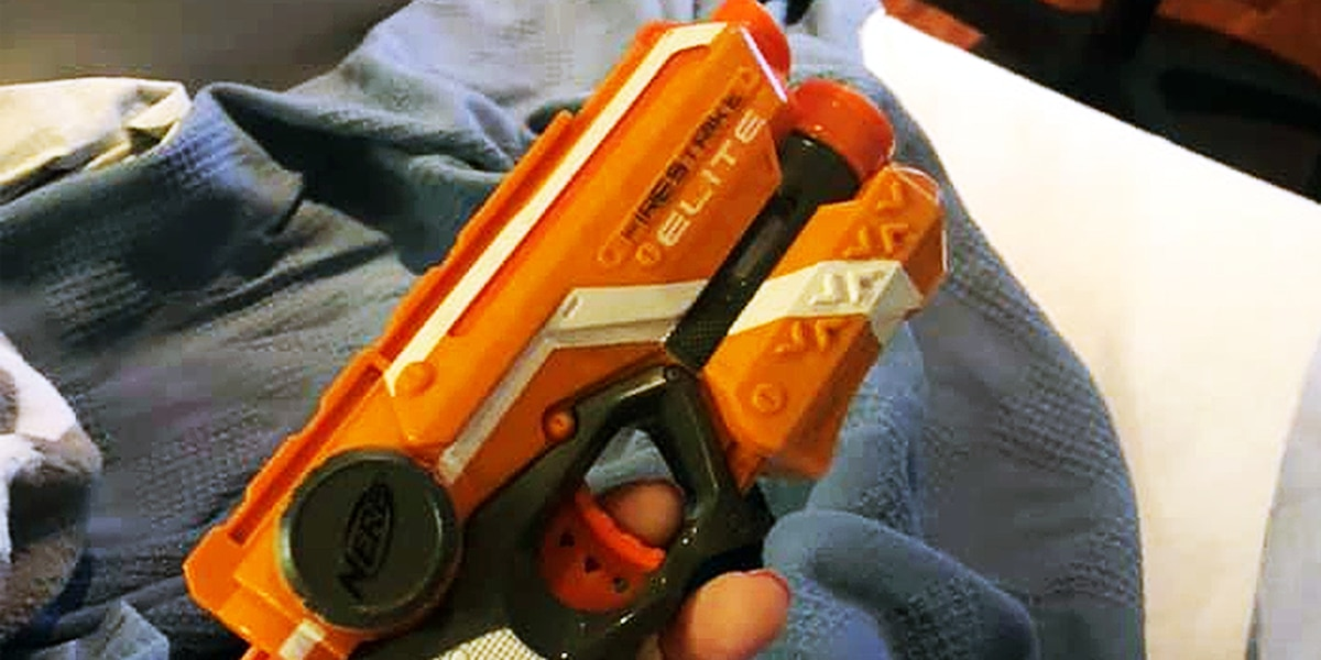 Man's pregnant wife uses Nerf gun to keep him awake in delivery room