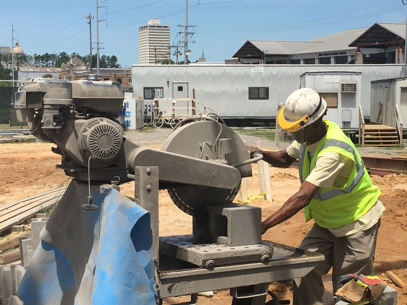 Masonry work is underway on the new Trade Mart at the Fairgrounds. Fountain Construction Company of Jackson was awarded the contract. Source: WLBT