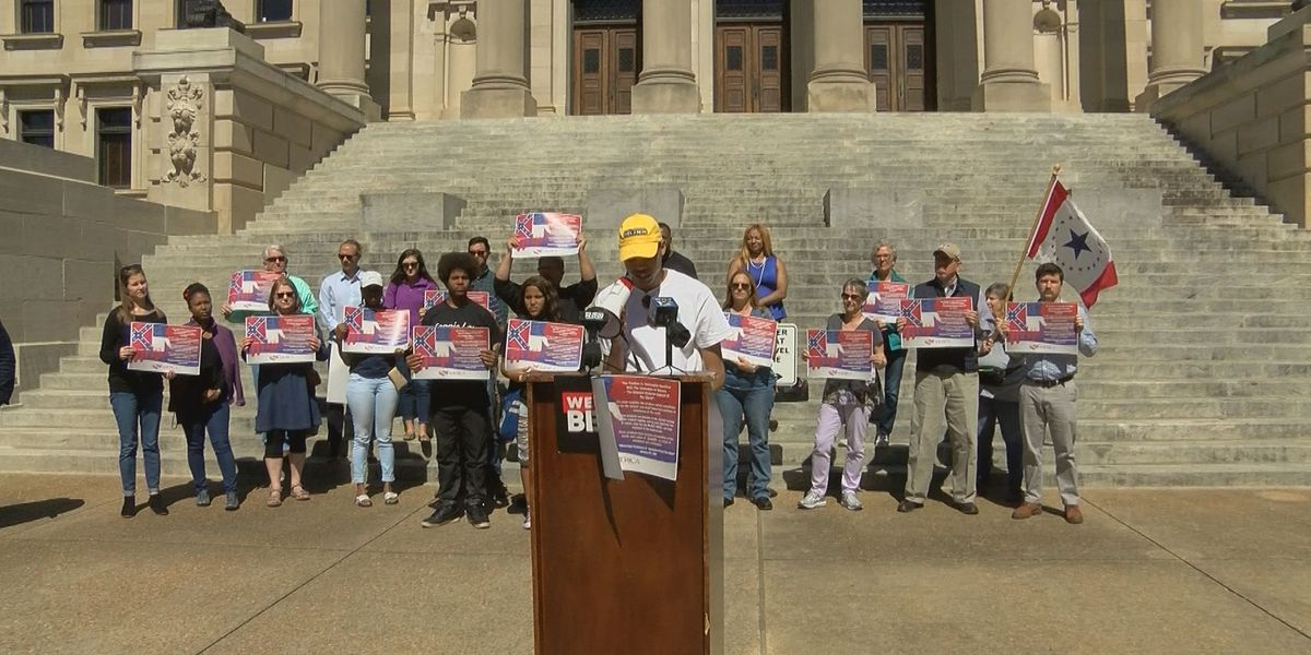 Protesters rally at State Capitol to change state flag