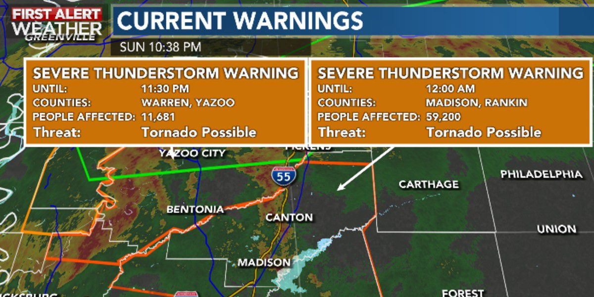 Severe thunderstorm warnings issued for Hinds, Madison, and Rankin County