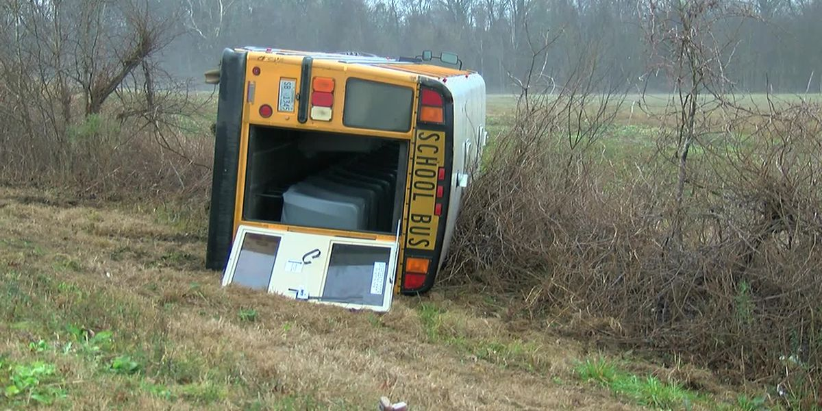 School bus overturns in Hinds county with students inside.