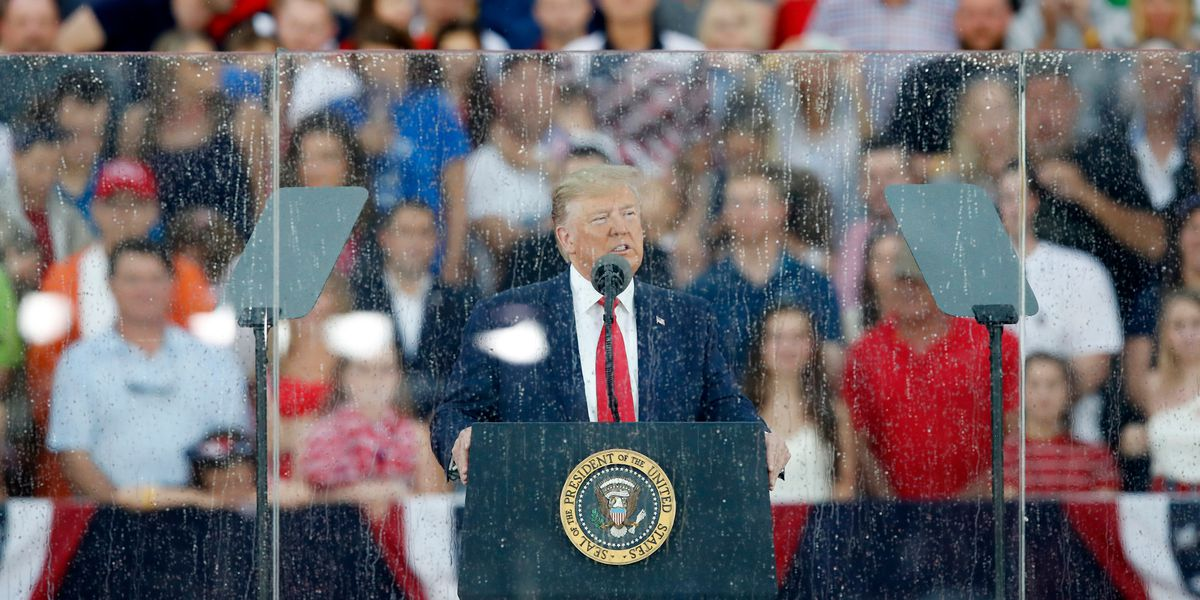 Trump sticks to patriotic themes at July 4 event