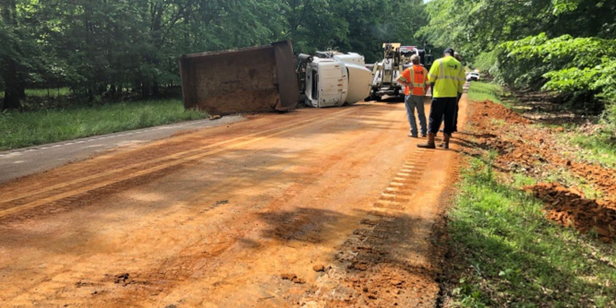 Dump truck overturns blocking both lanes of Highway 22