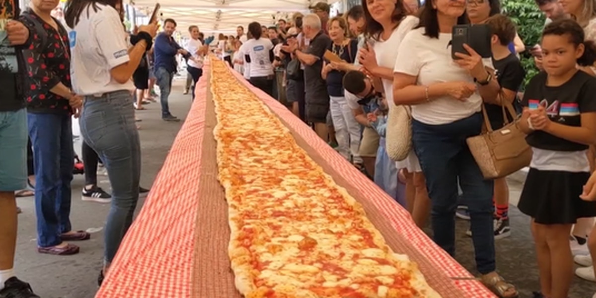 An Italian restaurant in Australia made a 338-foot-long pizza to raise money for firefighters