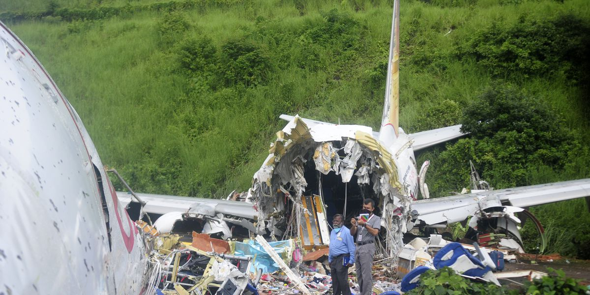 Indian plane skids off hilltop runway, cracks, killing 18