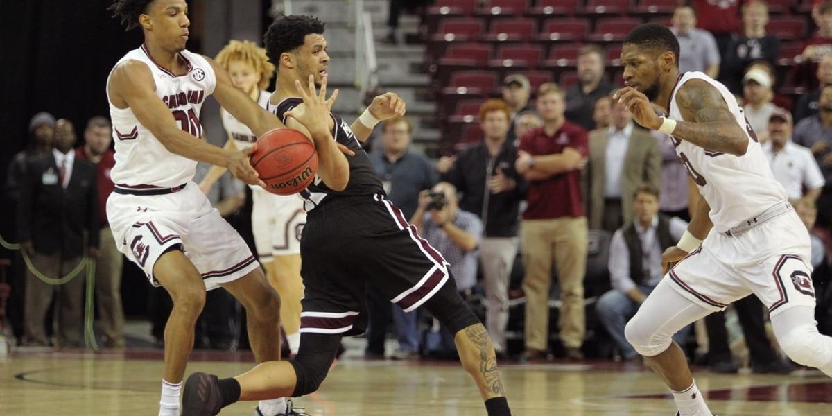 South Carolina stuns No. 14 Mississippi State 87-82 in OT