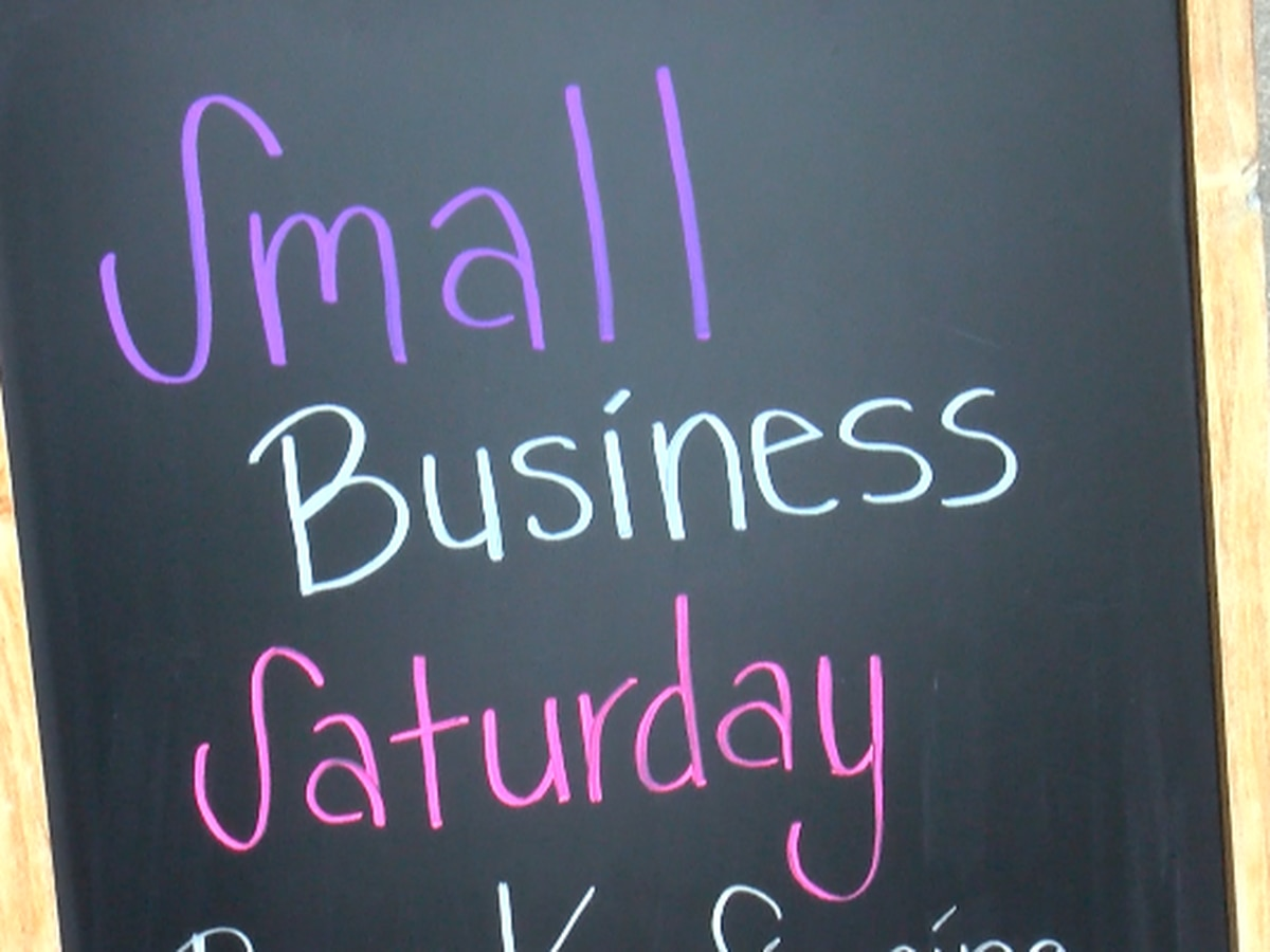 Large number of customers supporting local stores during Small Business Saturday
