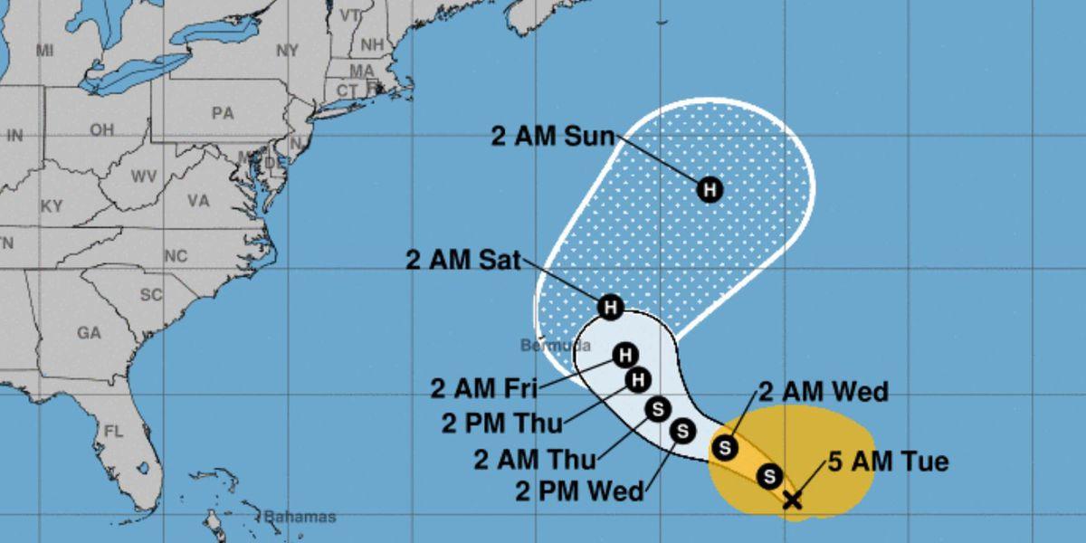 Tropical Storm Epsilon may become a hurricane near Bermuda