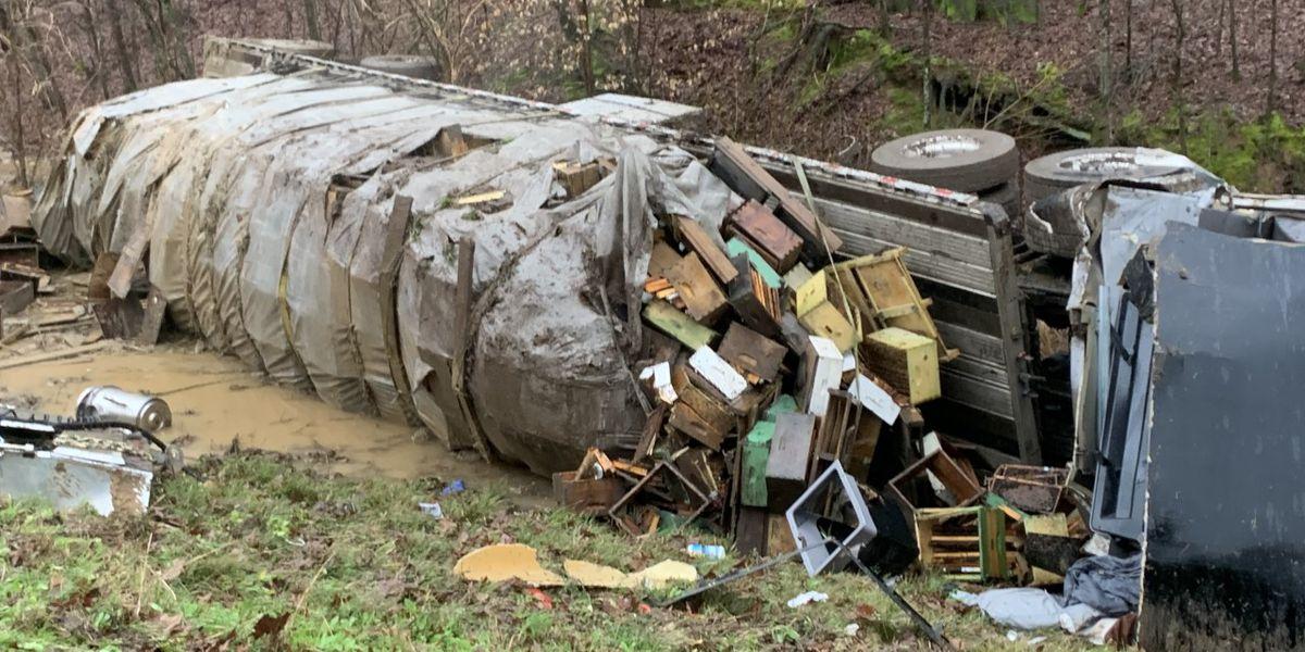 18-wheeler carrying honey bees overturns near Vicksburg
