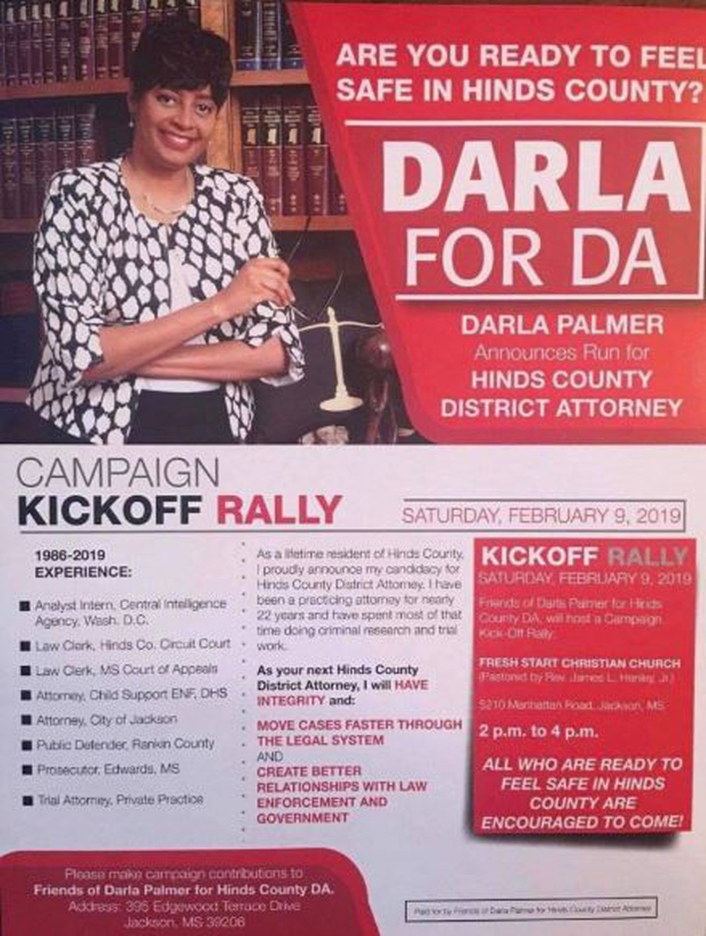 Darla Palmer announces candidacy for Hinds County D.A.