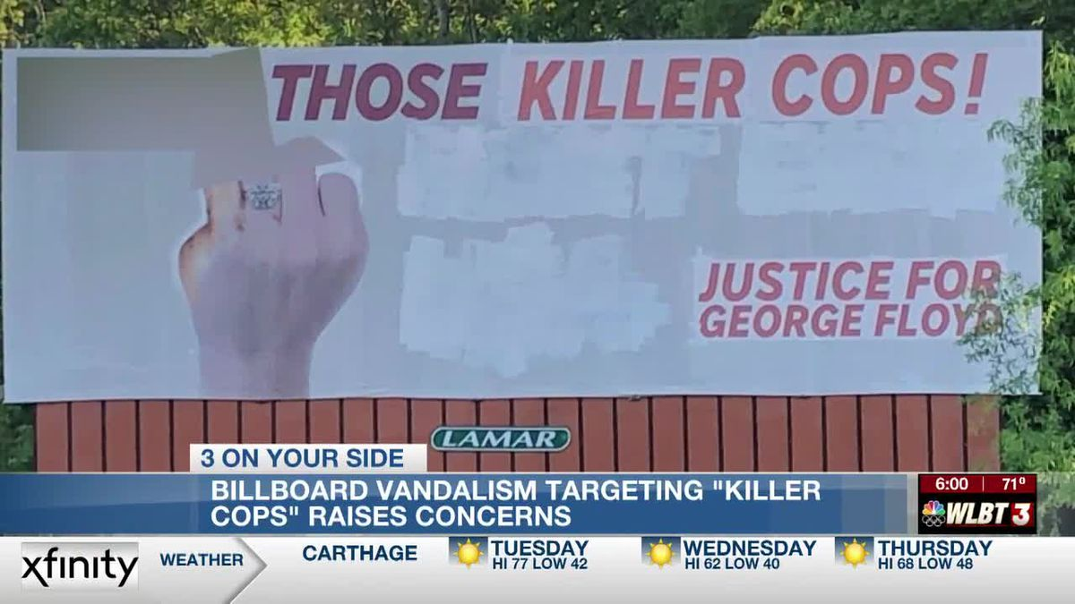 Vandalized I-55 billboard targets 'killer cops' with profanity, references justice for George Floyd