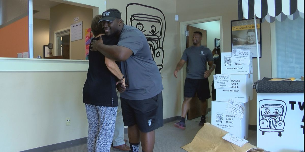 Woman reunites with movers who rescued her from a burning car in Jackson