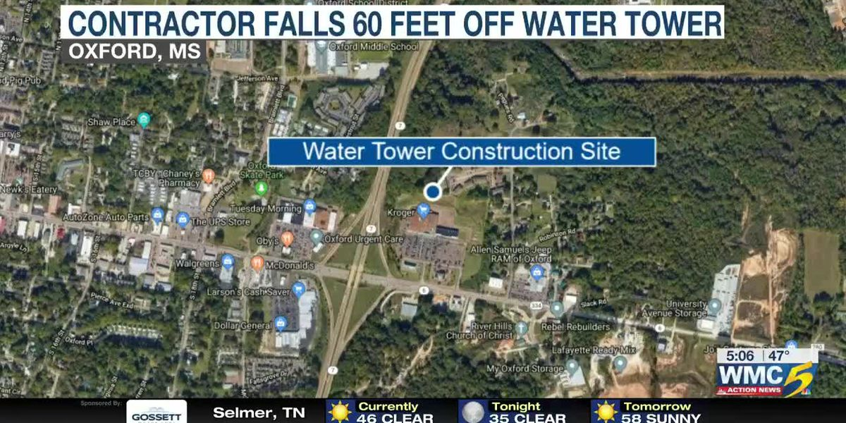 Kroger Oxford Ms >> Man falls 60 feet off Oxford water tower