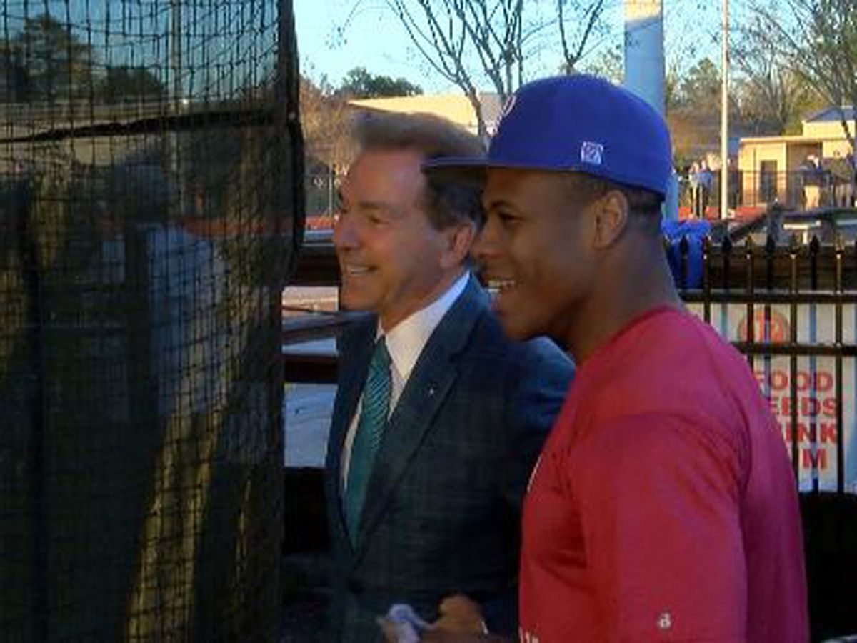 Nick Saban visits Jackson Prep's Jerrion Ealy