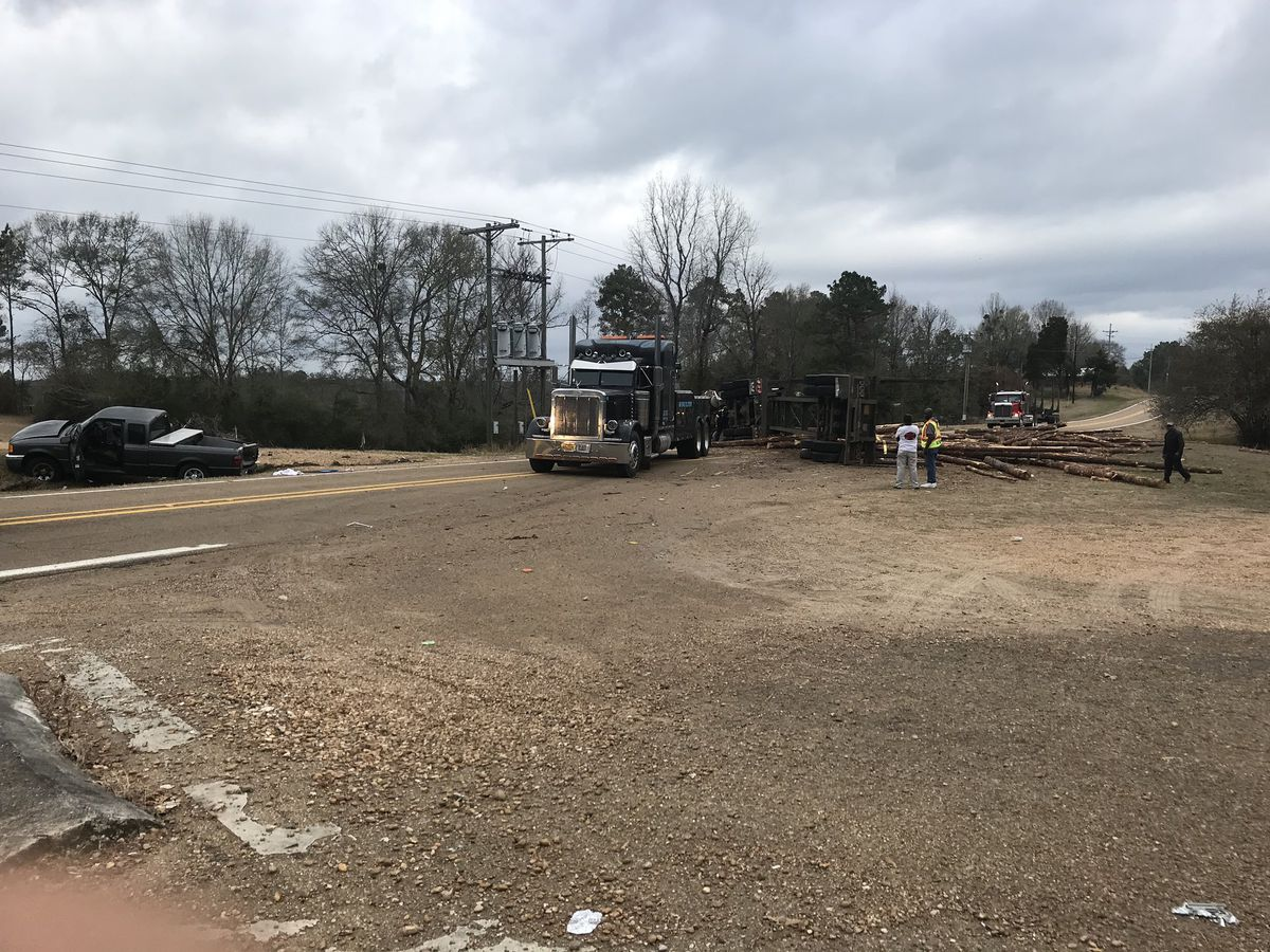 Log truck crash blocks roadway at HWY 51 and Bogue Chitto Rd. in Lincoln County