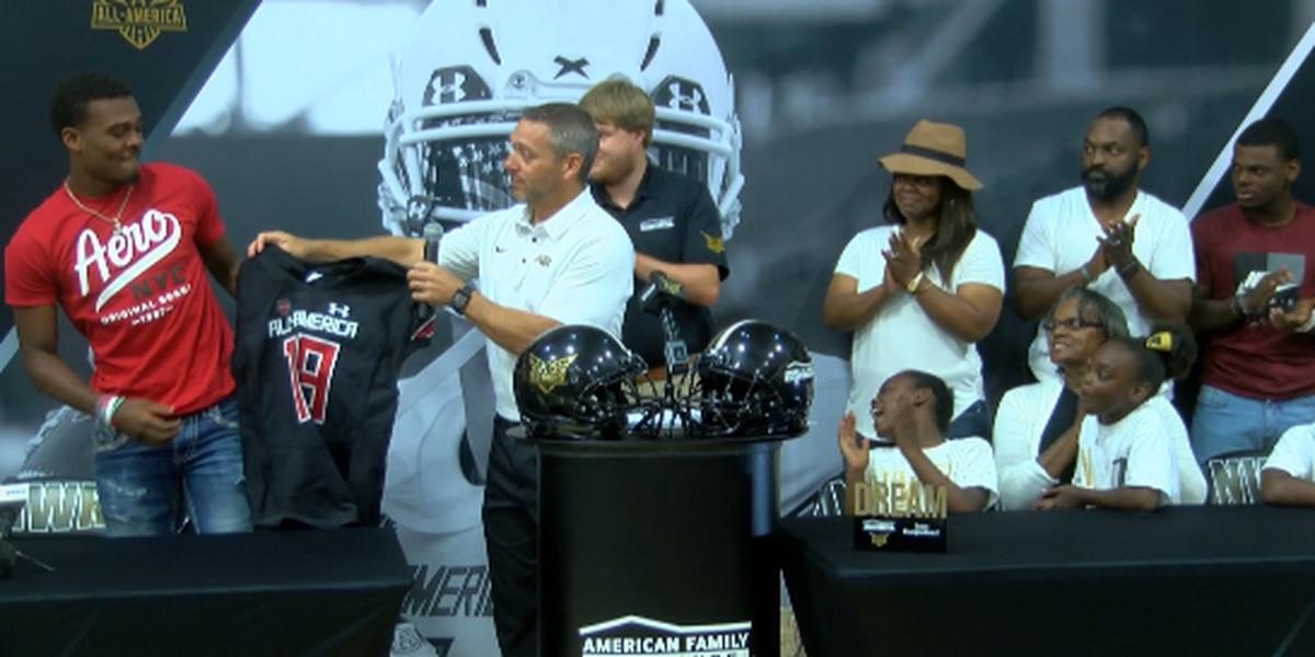 Jarrian Jones receives Under Armour All-American jersey