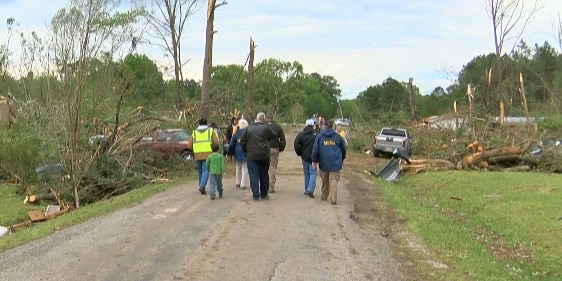 Local and state officials tour Morton tornado damage
