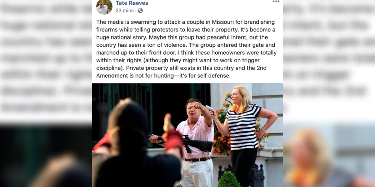 Gov. Reeves defends couple who pointed guns at protesters, says they were 'within their rights'