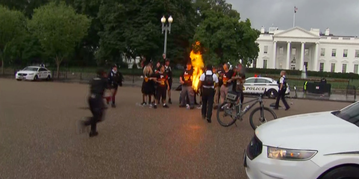 2 arrested after flag burning near White House