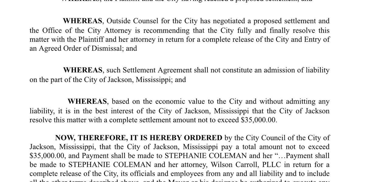 Jackson City Council votes to settle sexual harassment lawsuit