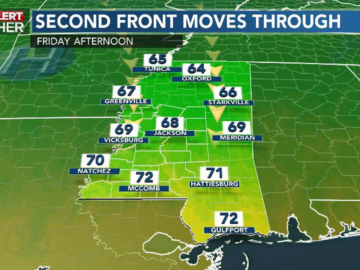 First Alert Forecast: second front on final approach to Mississippi