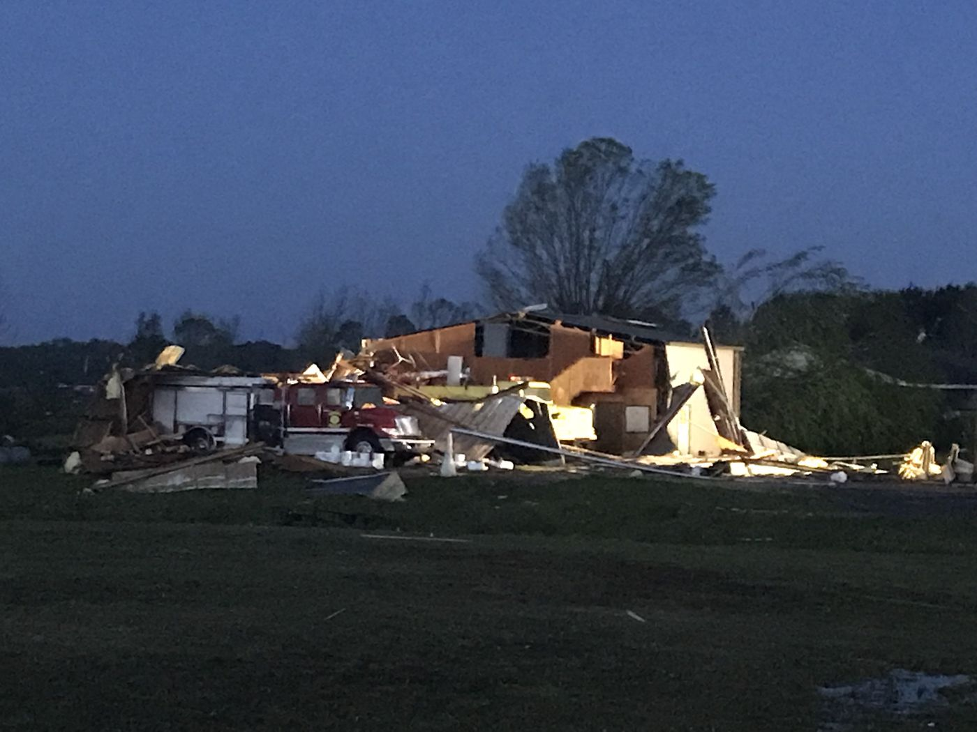 First light reveals the level of devastation in Hamilton, MS. (Source: WCBI)