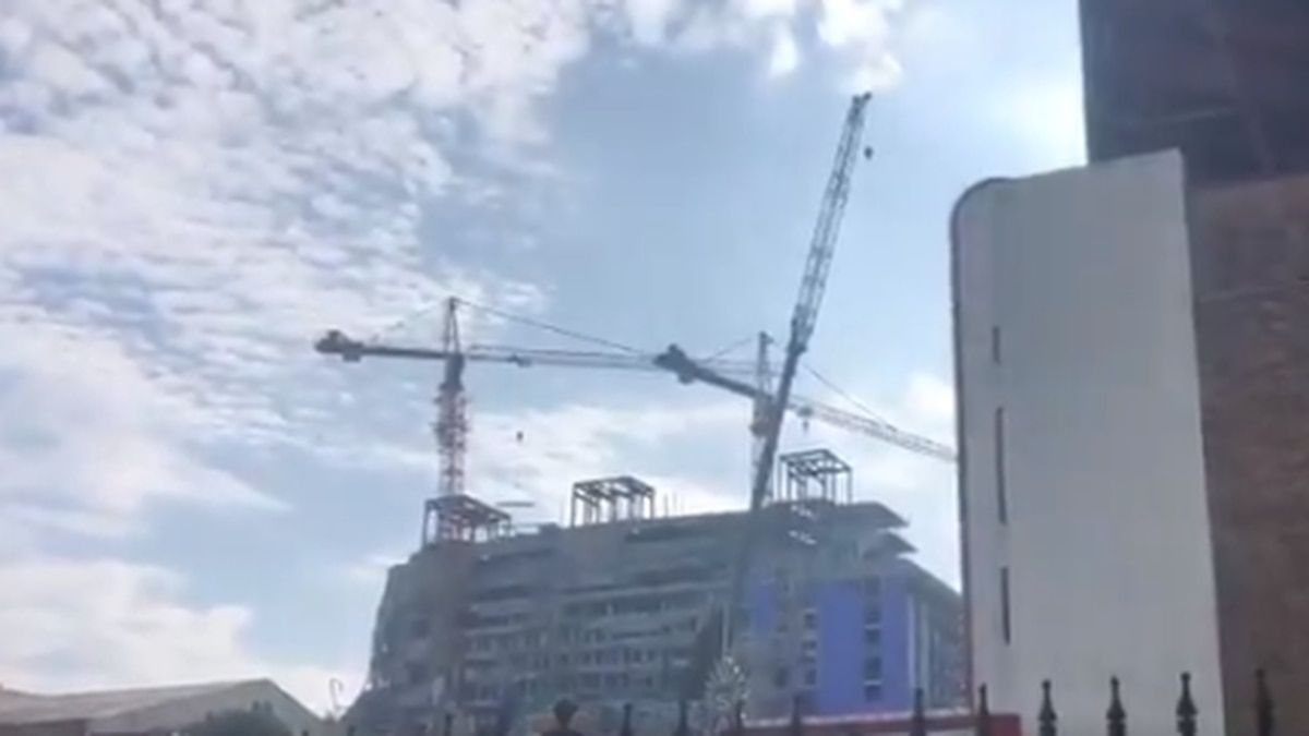 Hard Rock construction site monitored as crane moved in to stabilize building