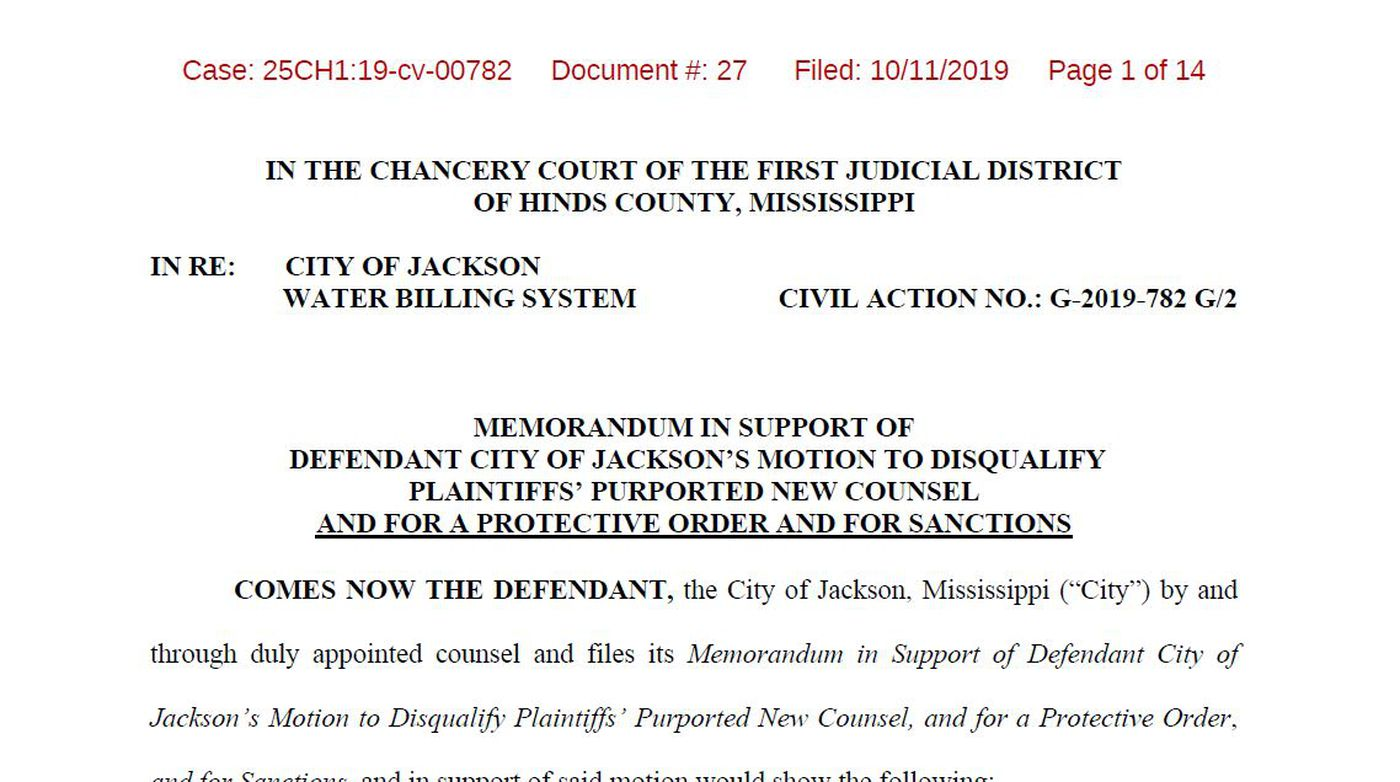 City Of Jackson Wants Two More Attorneys Disqualified From Water Billing Lawsuit