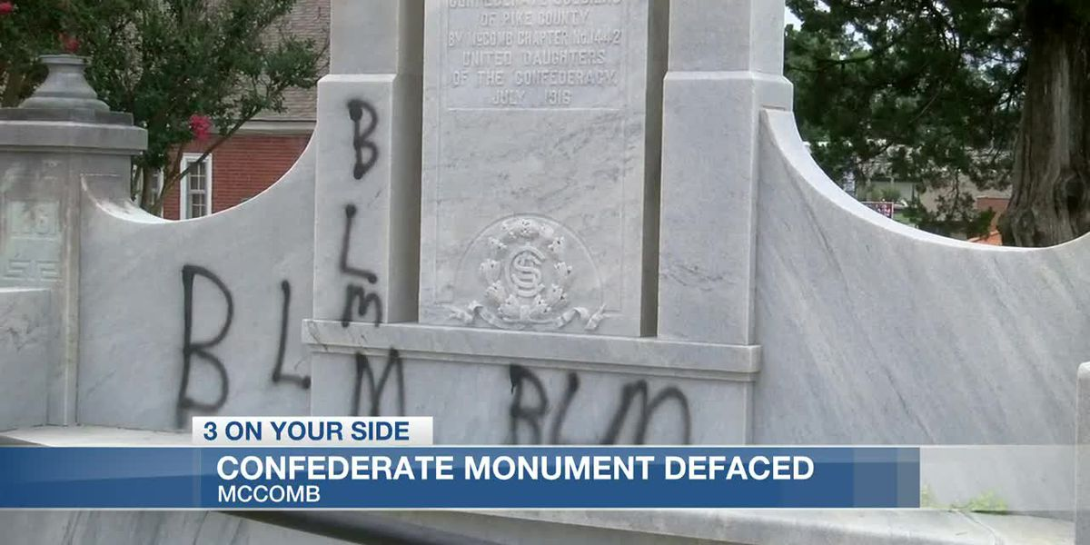 Confederate monument defaced with graffiti in McComb