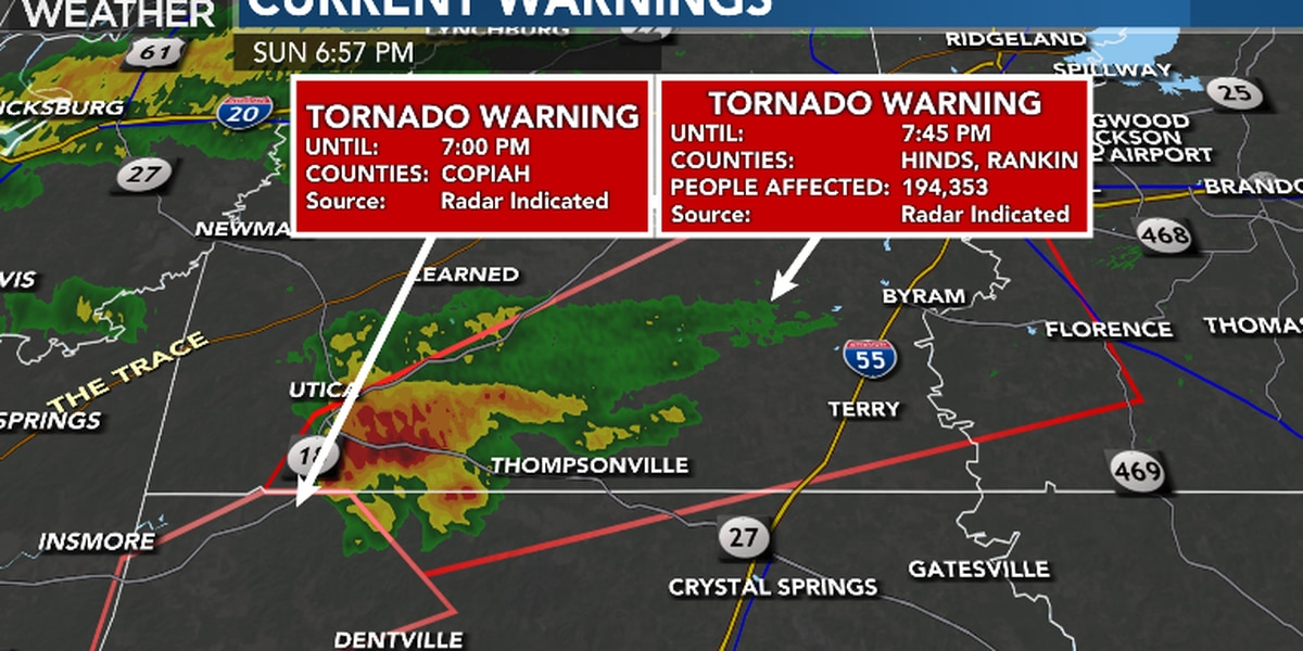 Tornado warning expired in Central Miss.