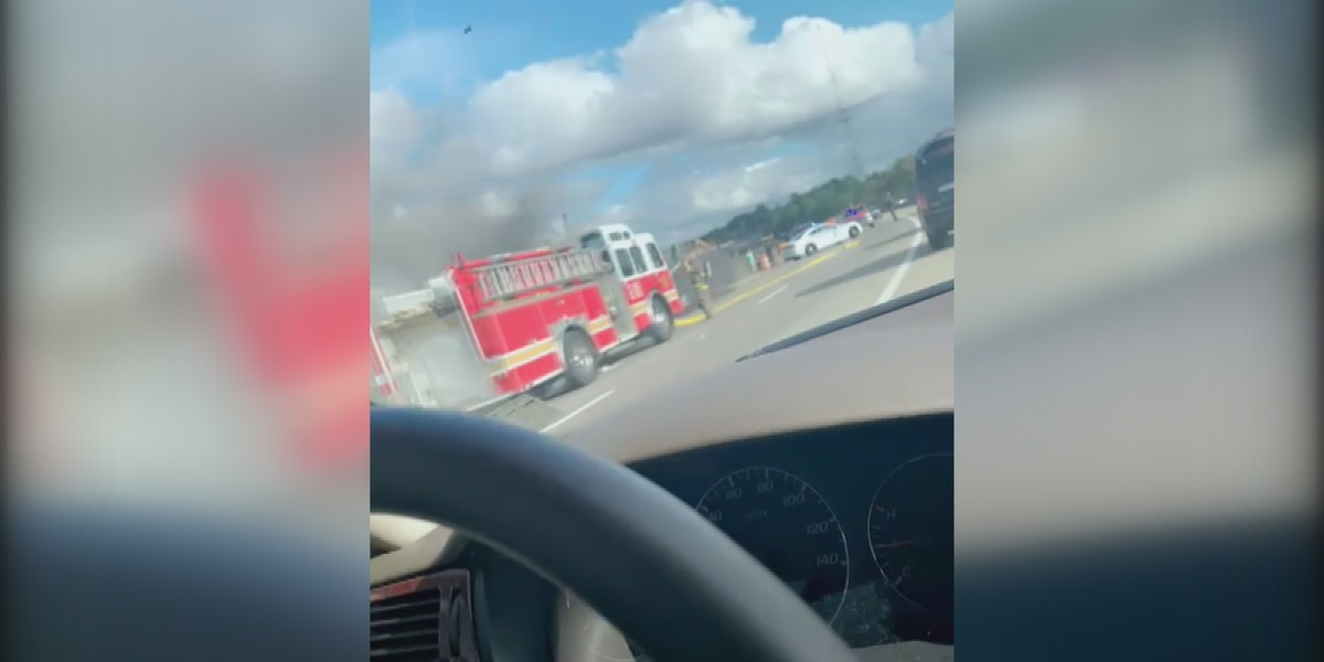 Traffic flowing again after car fire on I-20 near the Stack