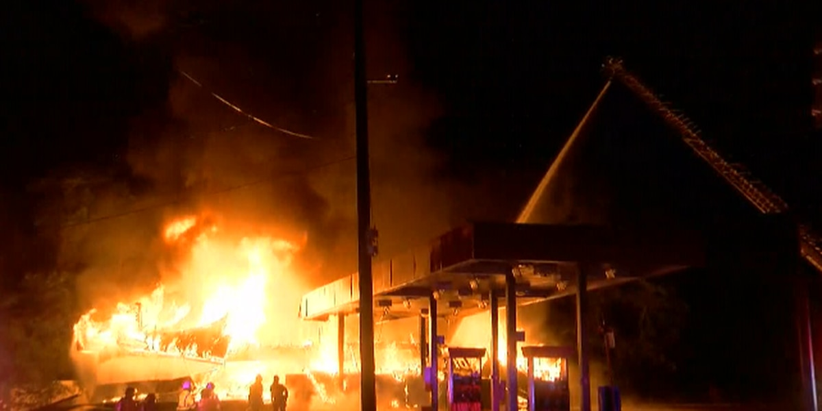 CRAZY VIDEO: Crews working to put out massive fire at Jackson gas station
