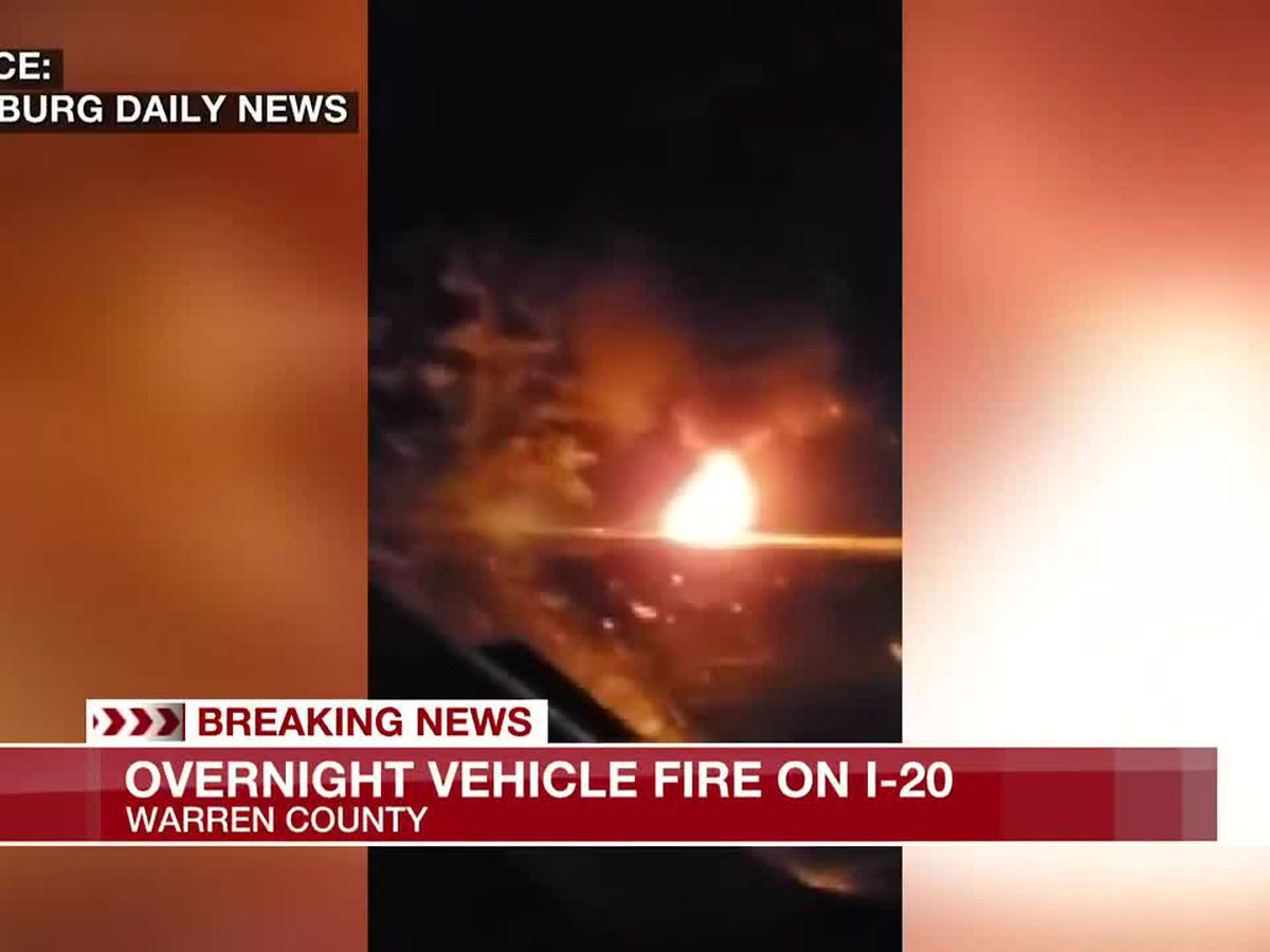 Overnight vehicle fire on I-20 in Warren County