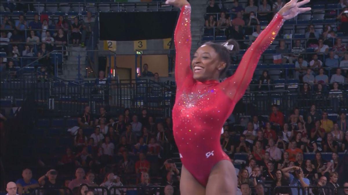 U.S. gymnastics champion Simone Biles' record-setting weekend inspires younger generation
