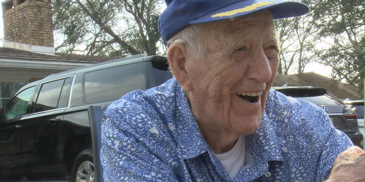 Gulfport WWII veteran marks 100th birthday with drive-by celebration