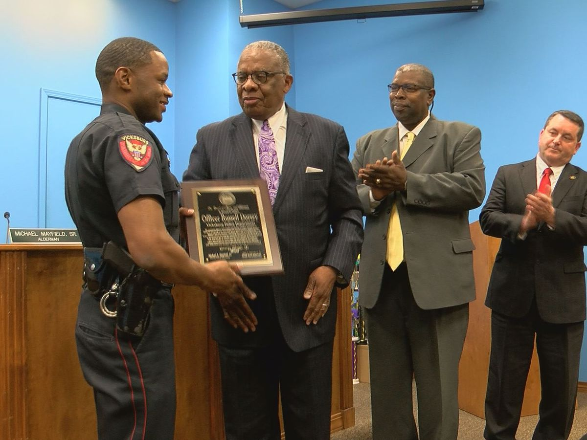 Vicksburg police officer honored for saving elderly man from burning home