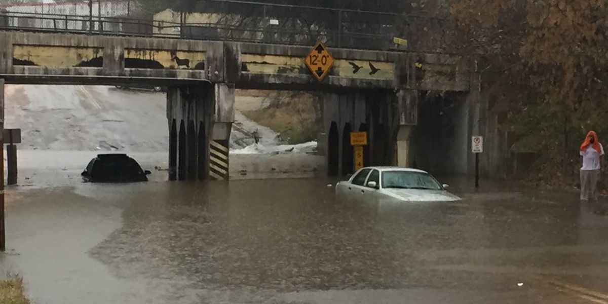 Two cars taken out of water under Jackson bridge