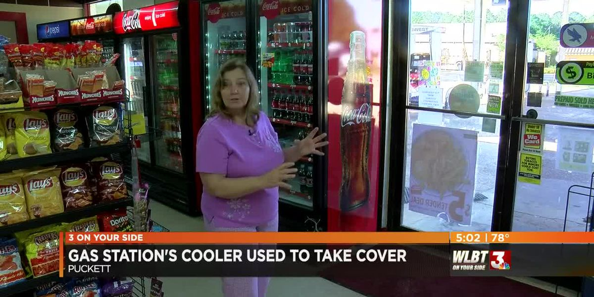 Gas Station's Cooler Used to Take Cover