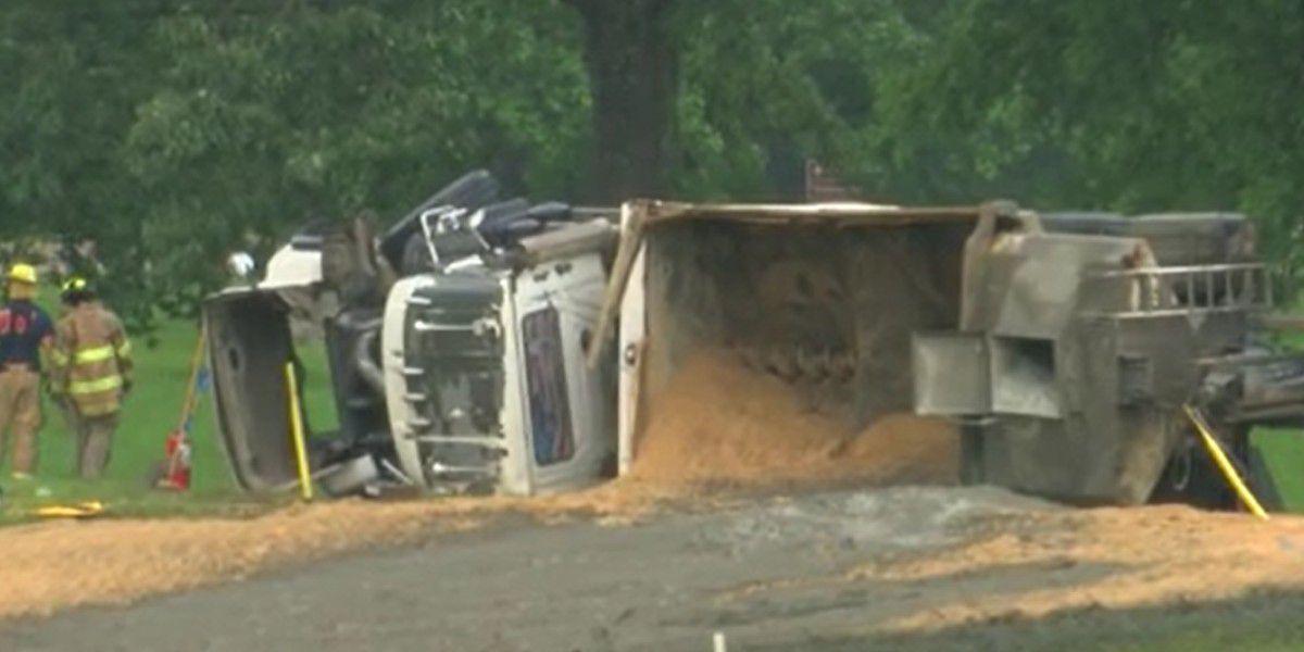 Dump truck full of sand overturns on Natchez Trace, entrance ramp closed