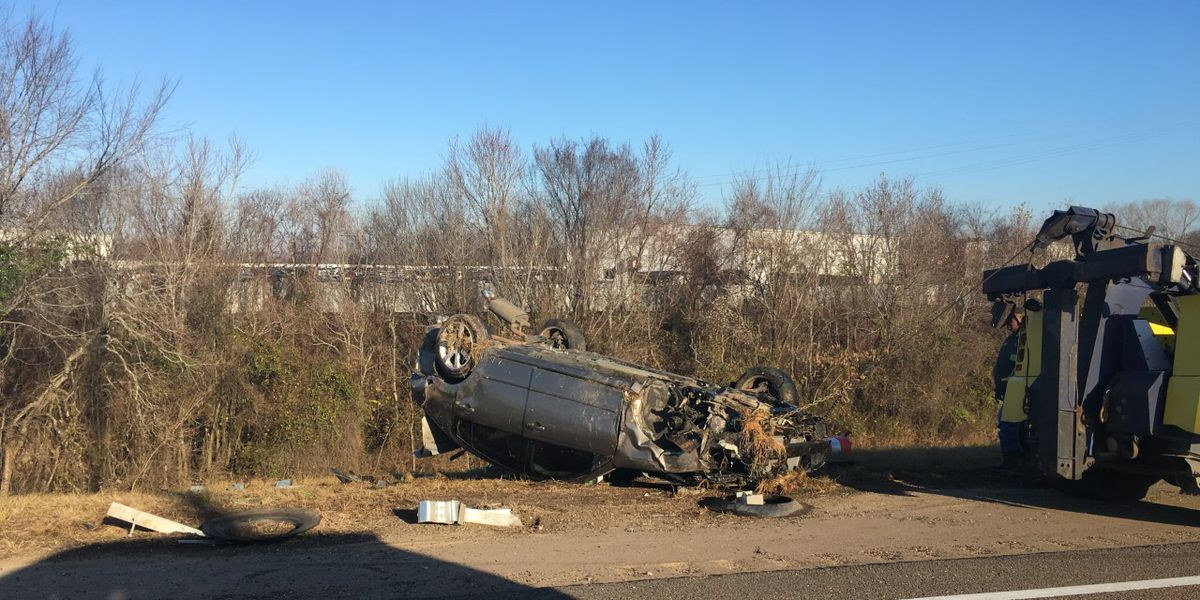 Vehicle flipped on I-55 S ramp to I-20 W