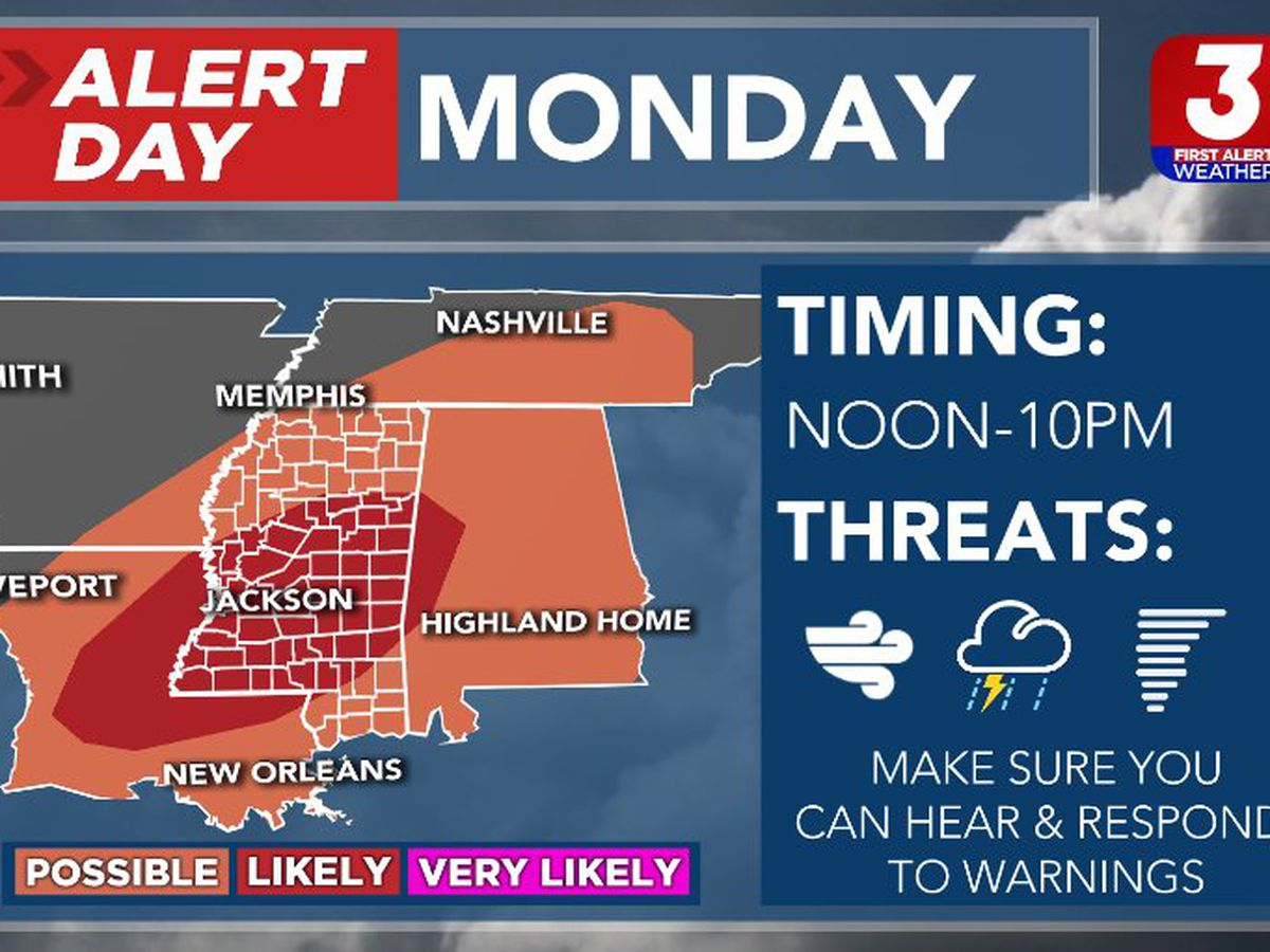 ALERT DAY: Severe weather possible Monday afternoon/evening
