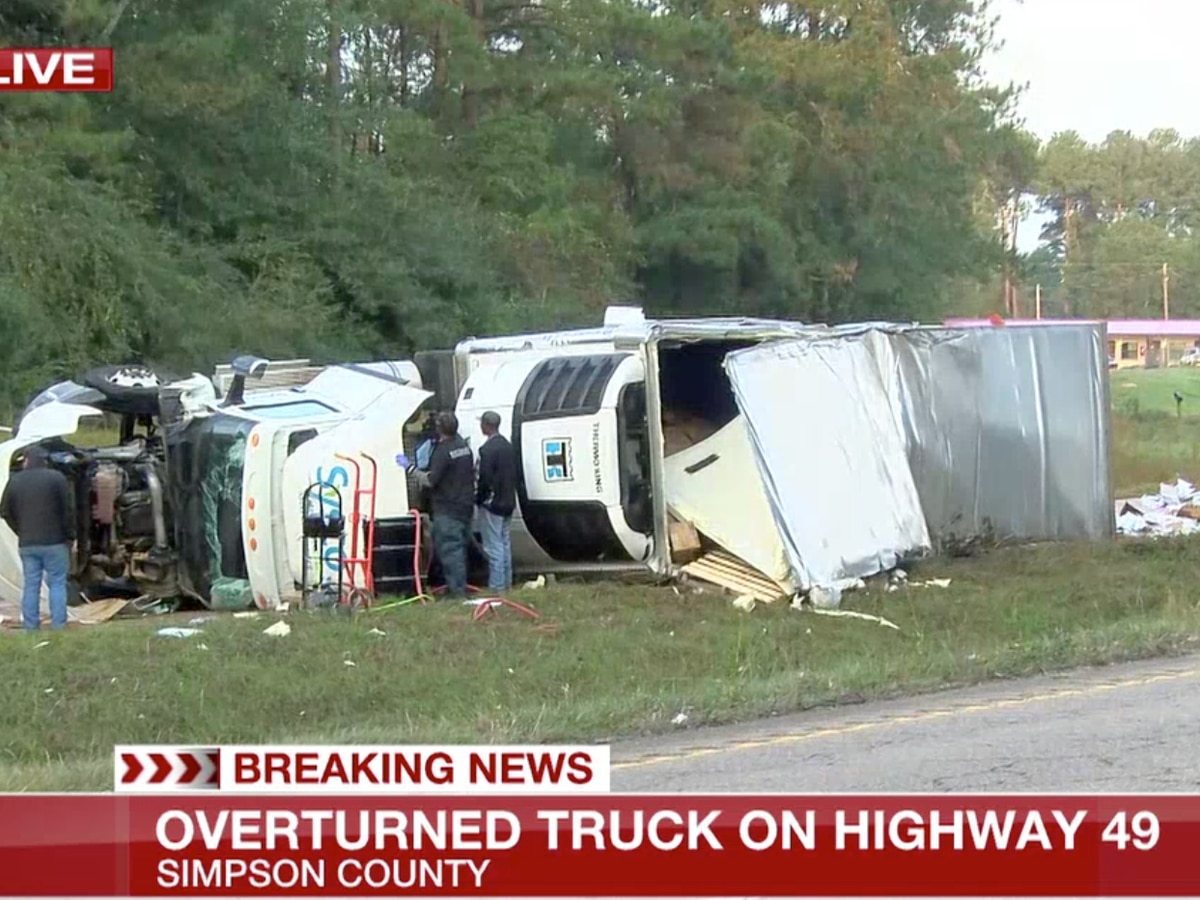 Overturned truck on Highway 49 in Simpson County