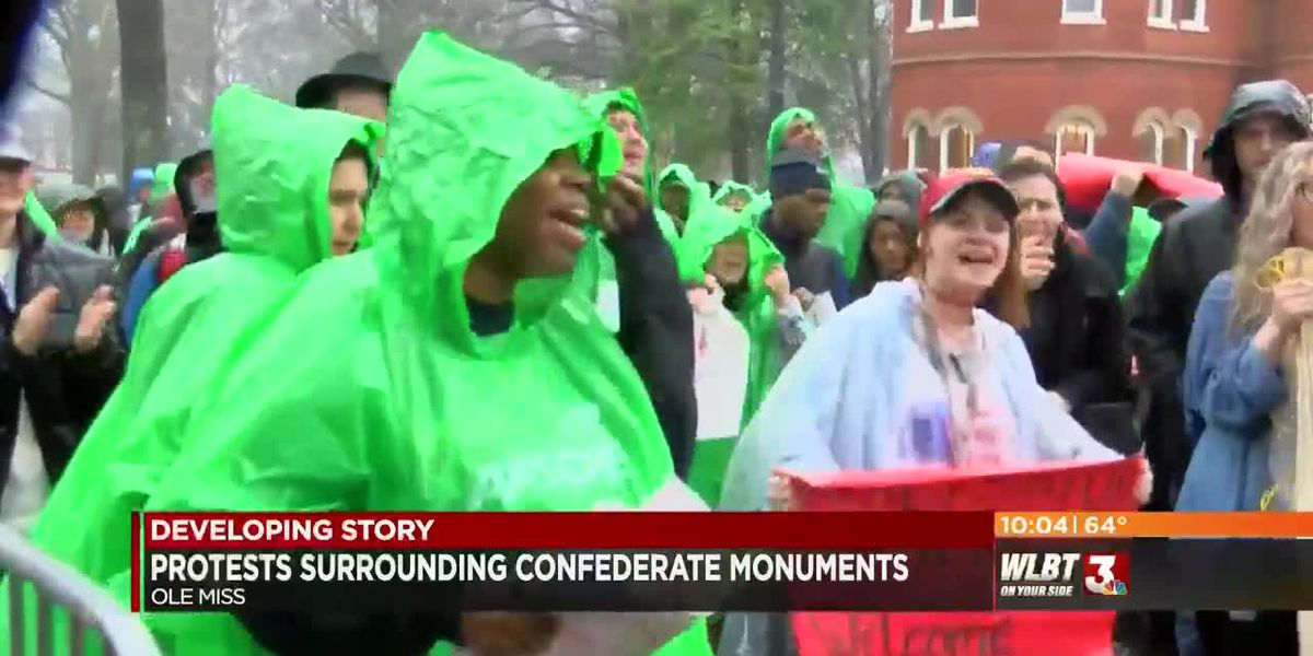 Pro-Confederate groups and counter-protesters gather at Ole Miss over Confederate monument