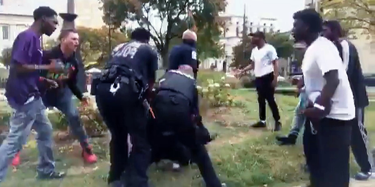 LMPD officer hit in the head with basketball downtown; 4 arrested after confrontation