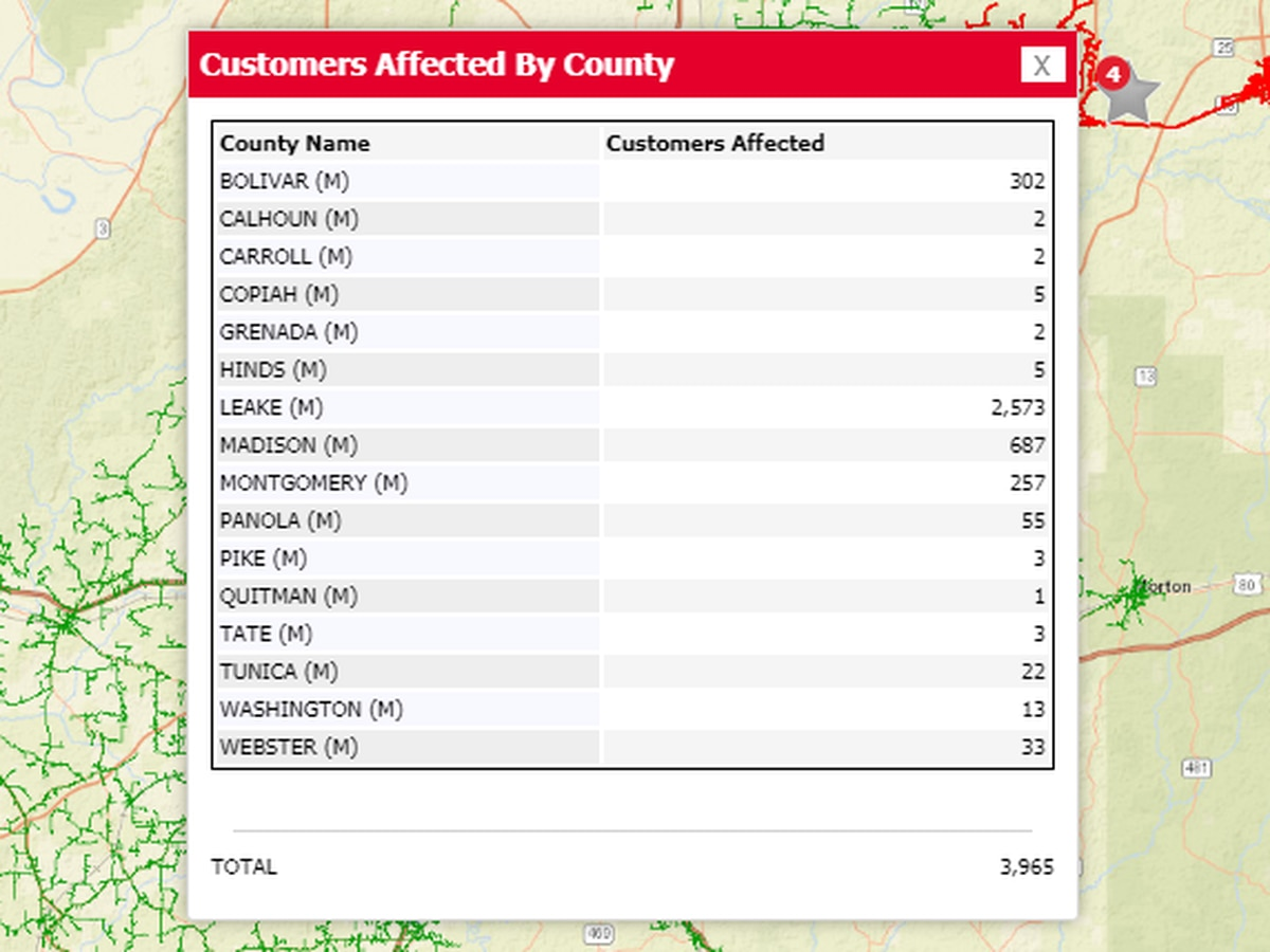 Over 4,100 Entergy customers without power