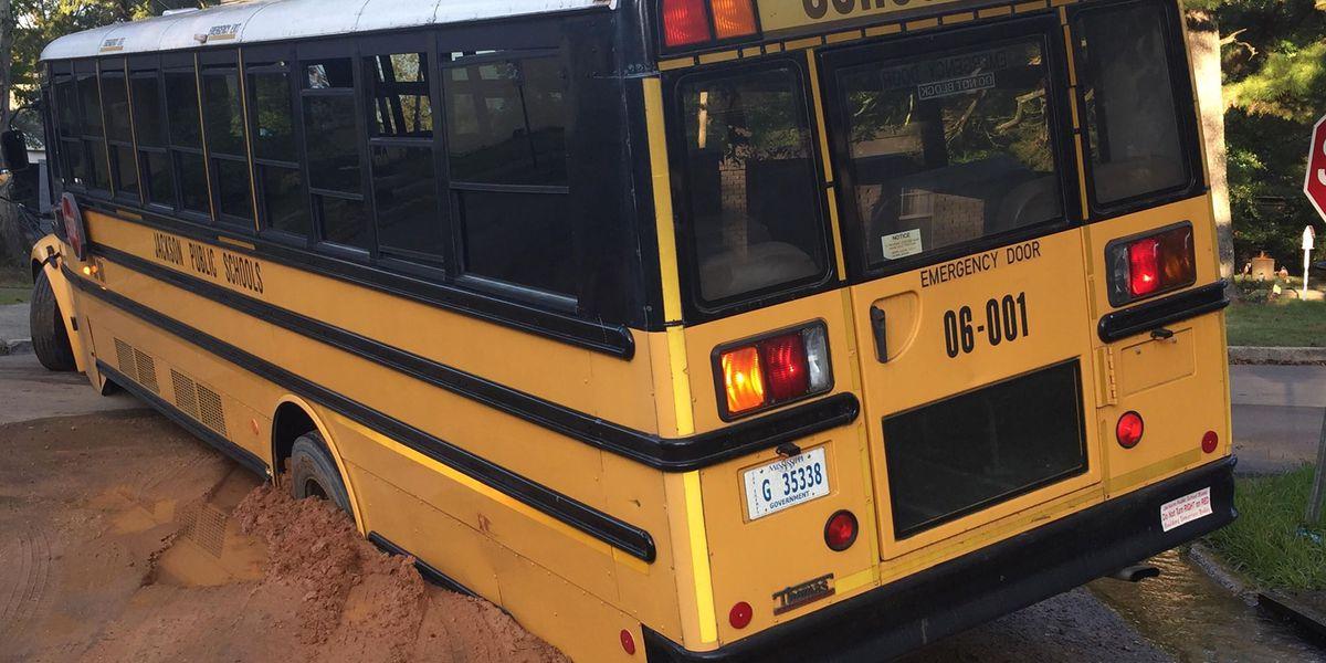 Jps School Bus Gets Stuck In Sinkhole