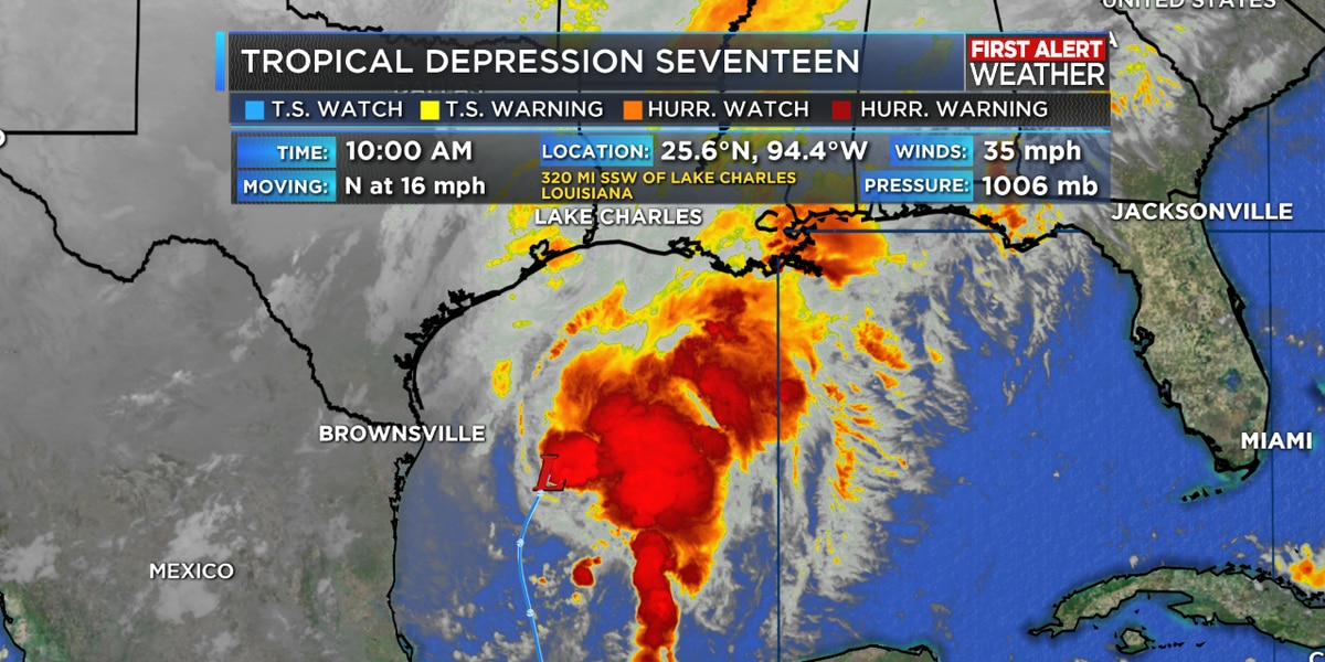 TROPICAL UPDATE: Disturbance in the Gulf upgraded to Tropical Depression 17
