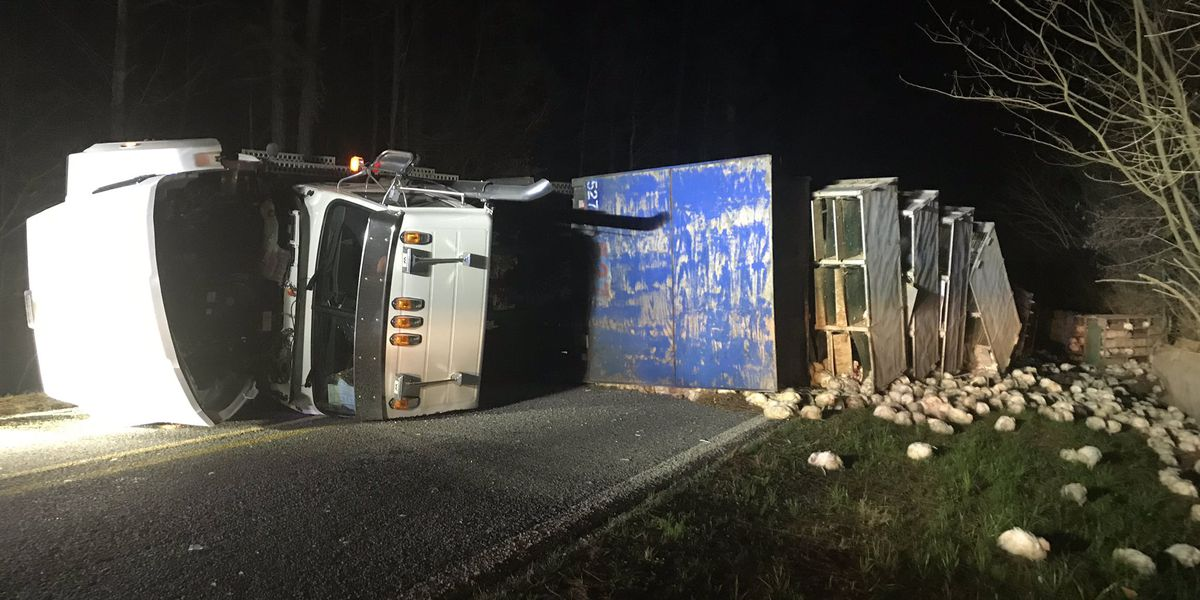 Chicken truck overturns in Rankin County