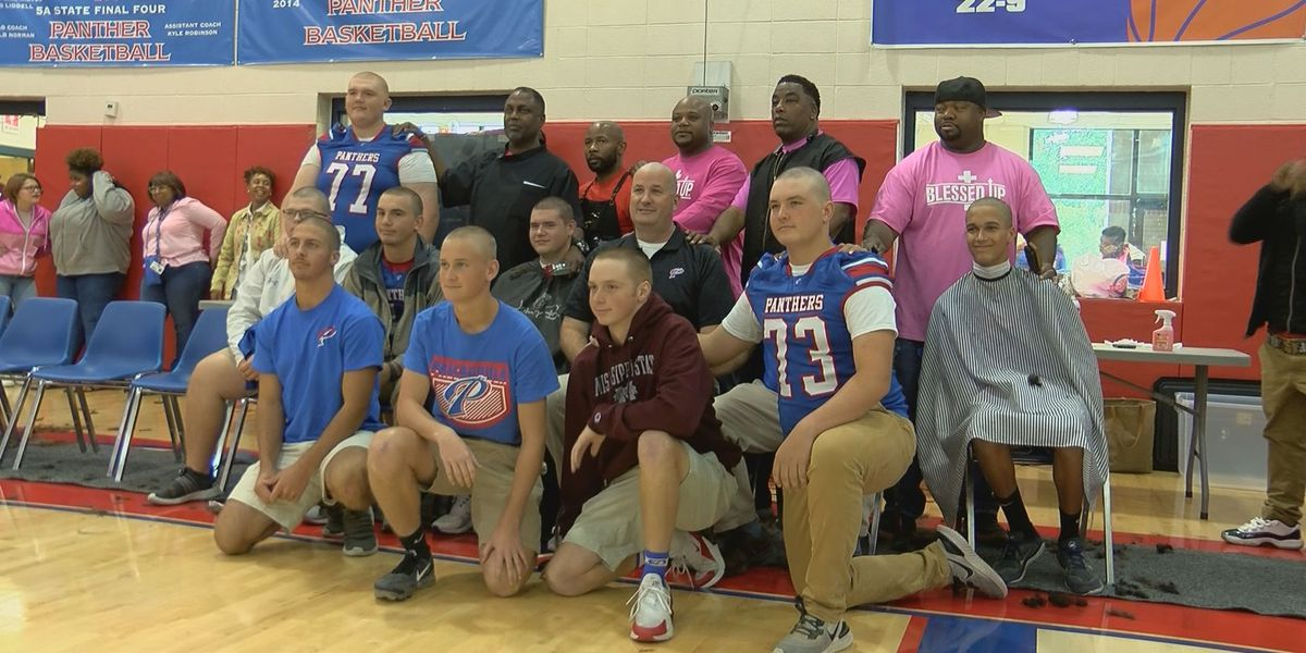 Pascagoula High football players go bald for breast cancer awareness