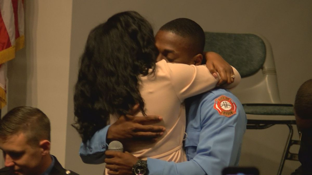 She said 'yes'! Byram firefighter proposes to girlfriend at graduation ceremony
